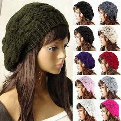 Fashion Womens Winter Warm Knit Crochet Ski Hat Braided Baggy Beret Beanie Cap