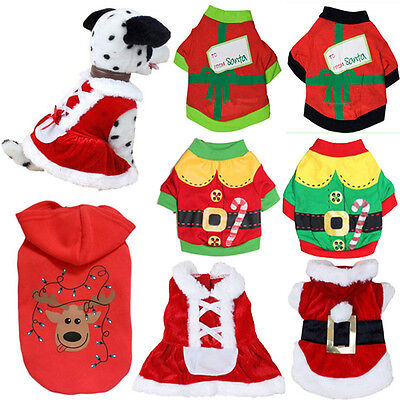 Pet Dog Clothes Puppy Vest Shirt Coat Dress Apparel Outwear Sweater Christmas UK