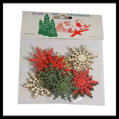 9x Christmas Wooden Large Snowflakes Embellishments Craft Cardmaking