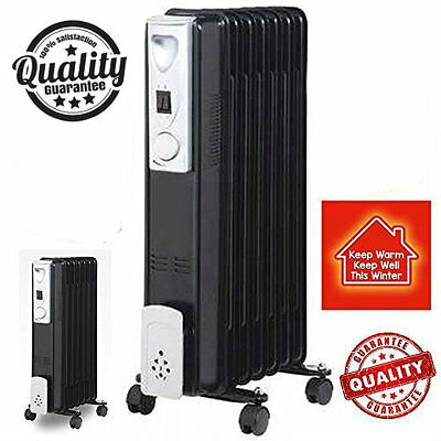 Portable 9 Fin 2kw Black Electric OIL FILLED RADIATOR Heater With Thermostat