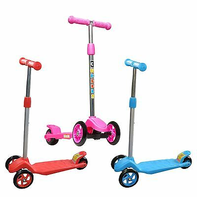 Vinsani Kids Mini Kick Scooter 3 Wheels with Brake Adjustable Height - 3 Colours