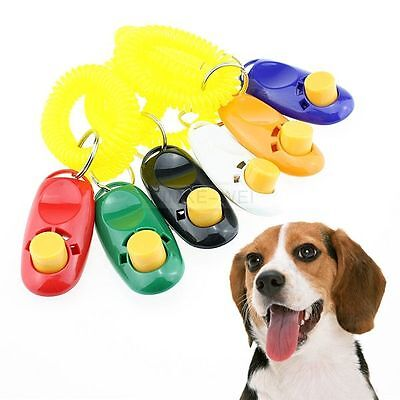 Pet Dog Cat Click Clicker Training Agility Obedience Trainer Aid Wrist Strap New