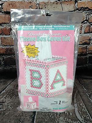 The Beadery Beaded Accents Baby Pink Tissue Box Cover Kit Craft