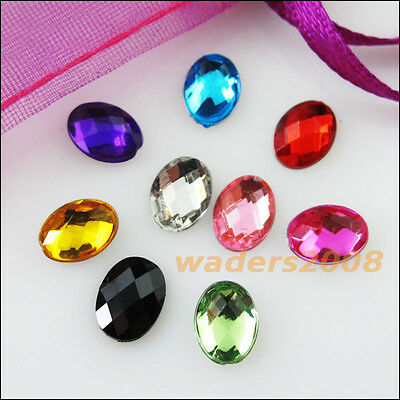 150 New Charms Mixed Oval Ellipse Faceted Acrylic Rhinestone Flat Back 6x8mm