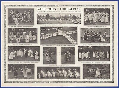 Orig. Antique Vintage 1910 COLLEGE GIRLS AT PLAY Women's Sports Drama Print Ad