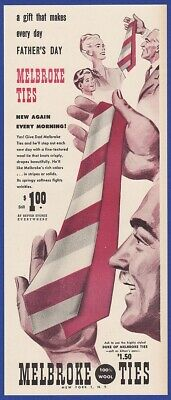 Vintage 1947 MELBROKE Ties Father's Day Men's Fashion Wool Rare Print Ad 1940's