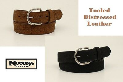 Distressed TOOLED Leather ~MAN'S WESTERN BELT~Silver Buckle Cowboy NOCONA N24117