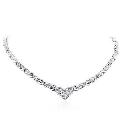 """1.00 Carat Natural Diamond X & O Heart Necklace in Sterling Silver - 18"""""""