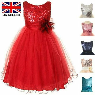Girls Party Dress Sequins Sparkles Flower Girl School Prom Bridesmaid New L