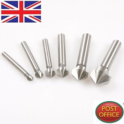 6pcs 90Degree 3 Flute HSS Chamfer Cutter Mill Drill Set Milling Cutting Tool Set