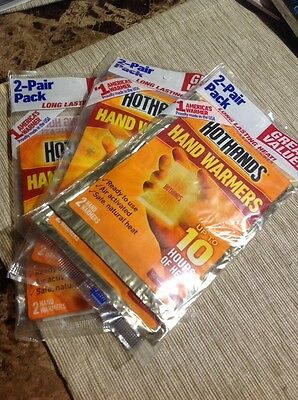 Ready to Use HotHands Hand Warmers 10 Hours of Heat Three 2 Pair Value Pack New