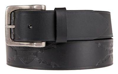 Harley-Davidson Men's Embossed Danger Zone Genuine Leather Belt HDMBT11212-BLK