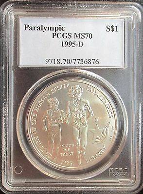 Frosty White 1995-D Paraympic Commemorative Silver Dollar PCGS MS70 6876