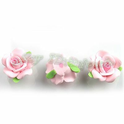 30x Light Pink Charms Flower Fimo Polymer Spacer Beads Fit Jewelry Making 20mm D