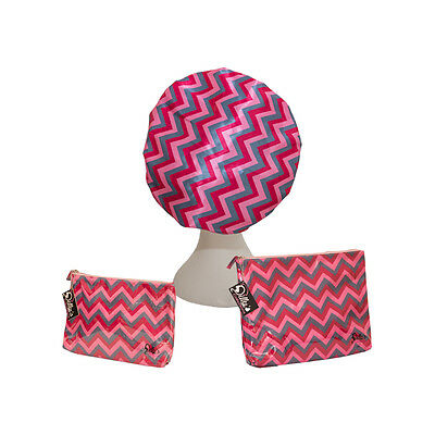 NEW Dilly' Collections Shower Caps & Cosmetic Gift Set ZigZag Design