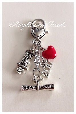 Keychain. Graduate. 2016. School. Owl. Silver Charms. Heart Clasp. Gift.