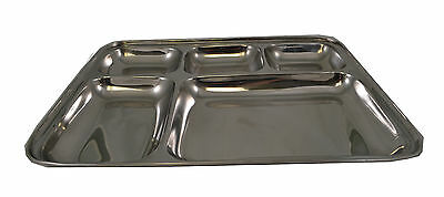 "5 Compartment Stainless Steel Sectional Food Serving Tray 10"" x 13"""