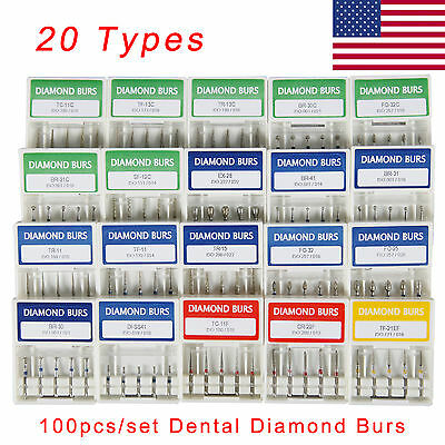 US 500pcs/100 Boxes Dental Diamond Burs Medium FG 1.6mm for High Speed Handpiece