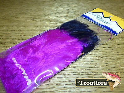 Spirit River Uv2 Cerise / Black Tip Dyed Marabou Strung - New Fly Tying Feathers