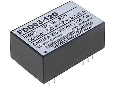 DC3W48/12/12 Converter DC/DC 3W Uin20÷60V Uout12VDC Uout2-12VDC