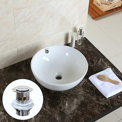 Modern Bathroom Counter Top Round Bowl Ceramic Basin Sink with Pop Up Waste
