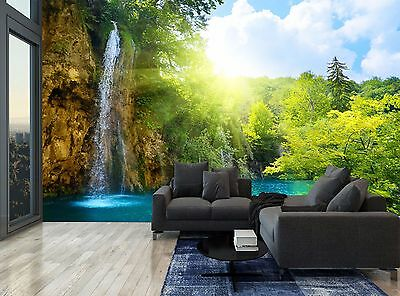 Waterfall Forest Trees Rocks Jungle Wall Mural Photo Wallpaper GIANT WALL DECOR