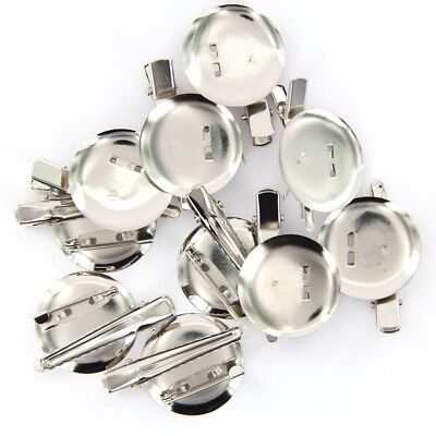 10pcs Dual Brooch Pin Back Base + Hair Clip 30mm DIY Findings Jewelry Silver