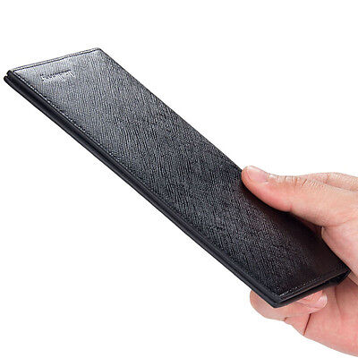 Super Slim Business Leather Clutch Long Wallet Bifold ID Card Holder Men Purse