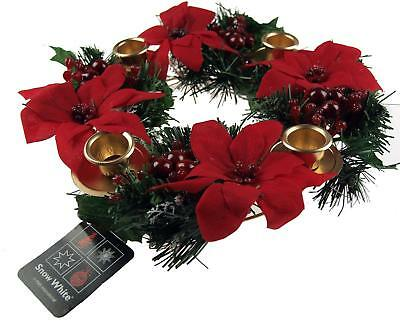 30cm Red Poinsettia Candle Holder Wreath - Chritmas Table Decoration