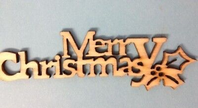 5 Natural Wooden Merry Christmas Sentiment Greetings Card Making Embellishments