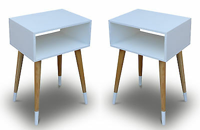 Set of 2: Bedside Table White Retro Chic Side Tables Nightstand Console Hallway
