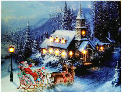 Led Canvas Christmas Santa Sleigh Picture On Reindeer With LED Lights