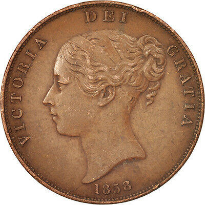 [#17100] Great Britain, Victoria, Penny, 1858, EF(40-45), Copper, KM:739