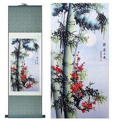 """Bamboo Painting Home Office Decoration Chinese scroll painting pine tree 12""""x40"""""""