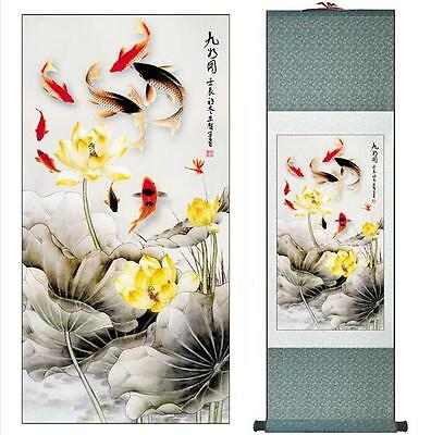 "Fish and flowers Super quality traditional Chinese Art Painting   12""x40"""