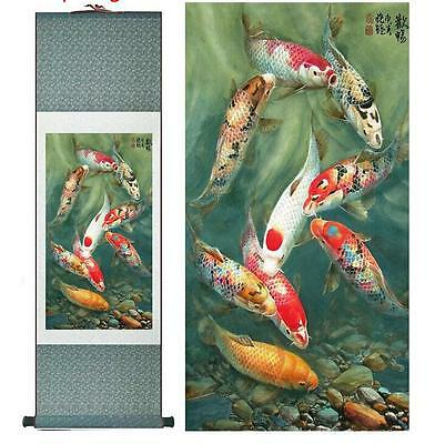 """Fish painting Silk scroll paintings traditional art Chinese painting   12""""x40"""""""