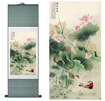 """Mandarin Duck and water lily Chinese Art Painting Home Office Decoratio 12""""x40"""""""