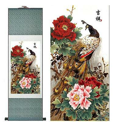 """peacock silk painting Chinese traditional silk art painting flower paint12""""x40"""""""