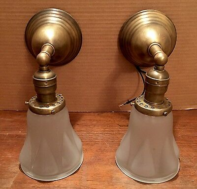 Beautiful Sconces Vintage Antique Wired Pair Brass Patina Frosted Globes Great!!