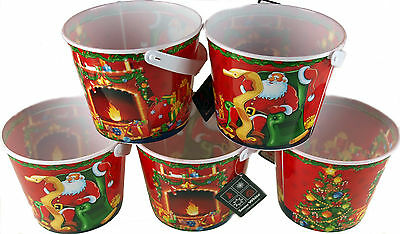 Set Of 5 Christmas Loot / Treat / Sweet Buckets With Lid For Party Or Gift