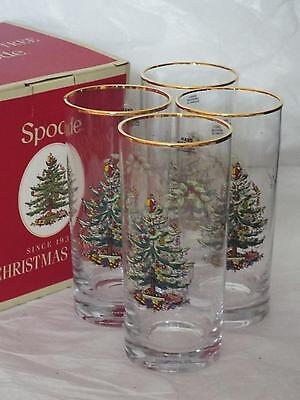SET Of 4 Spode Christmas Tree Xmas HIGHBALL GLASSES With Gold Rim New & Boxed