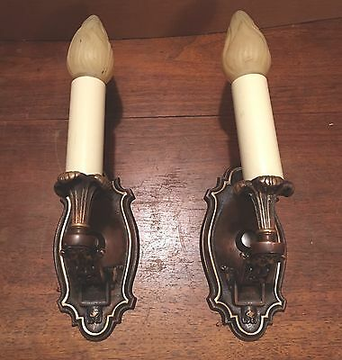 Beautiful Sconces Vintage Antique Wired Pair Electric Candles 6E