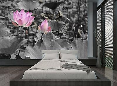 Pink And Grey Lotus Flowers Wall Mural Photo Wallpaper GIANT WALL DECOR