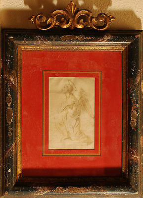 ANGELO - Disegno Originale a China 1700 Angel Antique Ink Drawing