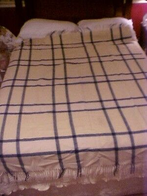 "Vintage  ""troy Snuggler"" Wool Blanket, Yellow And Blue Plaid"