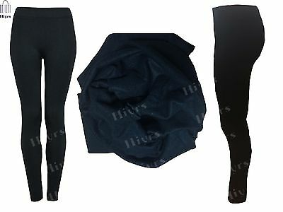 Womens Ladies Winter Fleece Thermal Warm Thick Full Length Leggings Lot 8-16