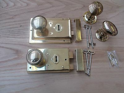 POLISHED BRASS Old vintage retro style door rim lock + knob set