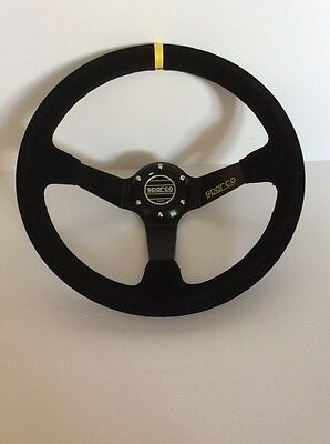 NEW BLACK SPARCO 350MM SUEDE DEEP DISH STEERING WHEEL Omp, Nardi Momo