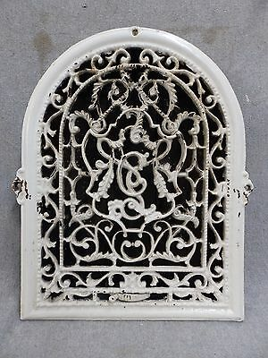 Vintage Cast Iron Arch Top Dome Heat Grate Wall Register White 1756-16