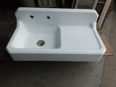 "Antique Cast Iron Porcelain 42"" Art Deco Kitchen Farm Sink Old Vtg 1758-16"